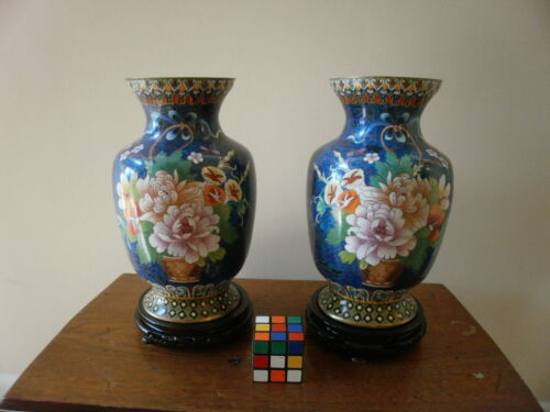 Vintage 20thc. pair Chinese Cloisonne Flowers on Blue Ground enamel
