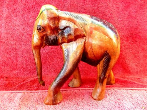 OLD  VINTAGE  BEAUTIFULLY  HAND  CARVED  WOOD  ELEPHANT  21cm.