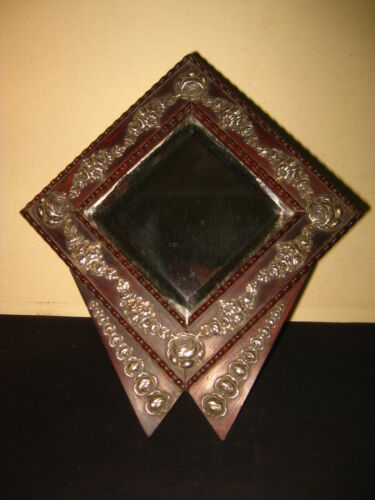 ANTIQUE ART DECO VANITY TABLE MIRROR ROSE WOOD & SILVER FRAME 1930s