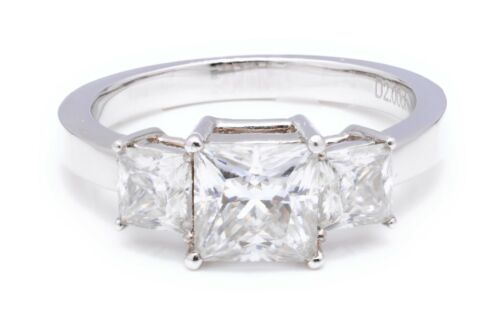 2ct Princess Cut Solitaire Diamond Engagement Ring 14kt White Gold Finish