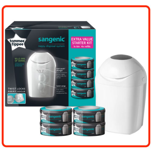 Tommee Tippee Sangenic Tub Nappy Disposal System Starter Kit Tub + 4 Refills