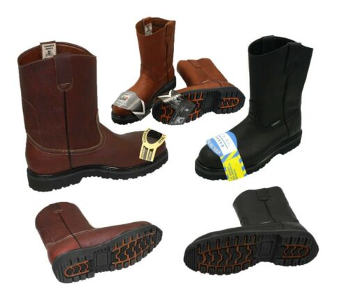 MEN'S STEEL TOE WORK BOOTS PULL ON SAFETY GENUINE LEATHER  OIL RESISTANT #410