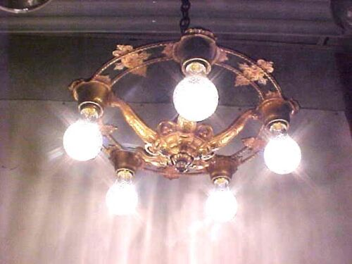 BEAUTIFUL  ART DECO CEILING FIXTURE 5 LIGHT CAST BRONZE BRASS ORIGINAL FINISH