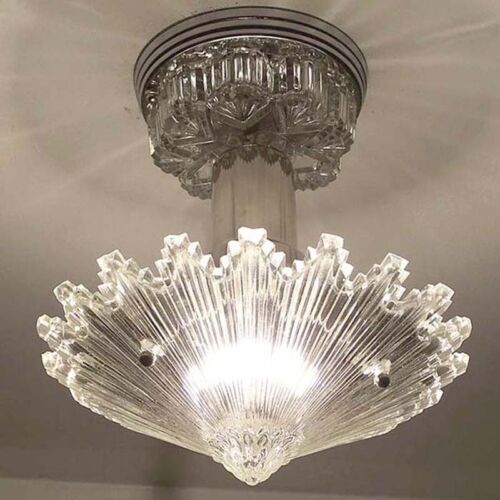 790 Vintage arT Deco Ceiling Light Lamp Fixture Glass Re-Wired