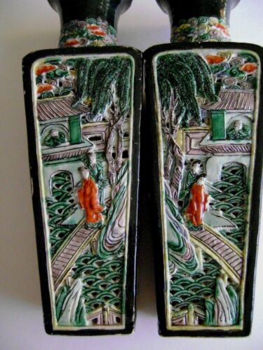Pair of Chinese  Porcelain Famille Noire reticulated Vases Kangxi Dynasty