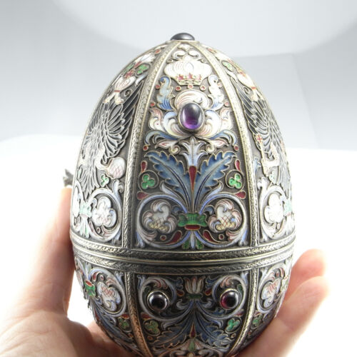 RUSSIAN Enamel Silver Antique FABERGE Egg Gem Set Signed