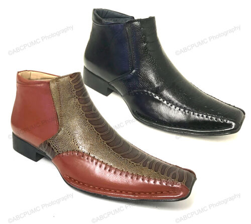 Men's Boots Alligator Crocodile Cowboy Western Leather Lined Ankle Zipper Shoes