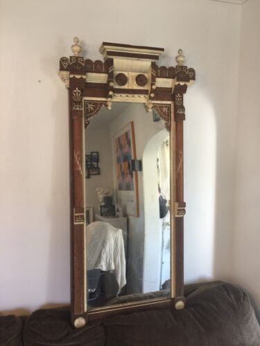 Beautiful Victorian Eastlake Pier Mirror Hand Painted One Of A Kind Piece