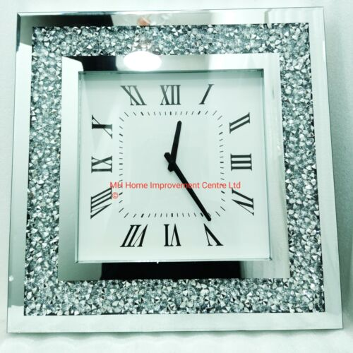 Square Mirrored Sparkly Diamond Crush Crystal Large Silver Wall Clock Glitz  <br/> Super Fast Delivery. 30 Days Free Returns*.Gorgeous!