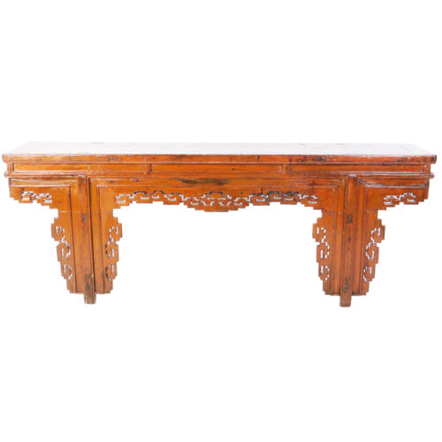 """Antique Chinese 91"""" long Burnt Orange Color Lacquer Altar Console Table"""