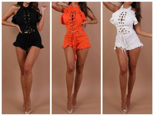 Womens Ladies Eyelet Front Ruffle Frill Hem Lace Up Playsuit