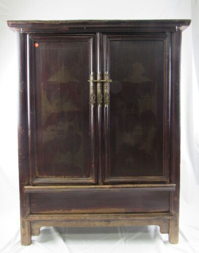 Chinese Antique  walnut wood scenery printing cabinet with two drawer