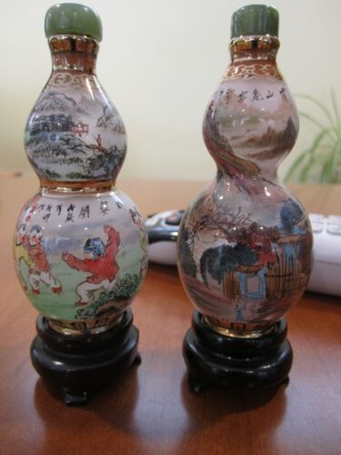 FINE PAIR OF ANTIQUE CHINESE INSIDE HAND PAINTED GLASS SNUFF BOTTLES GOLD TRIM