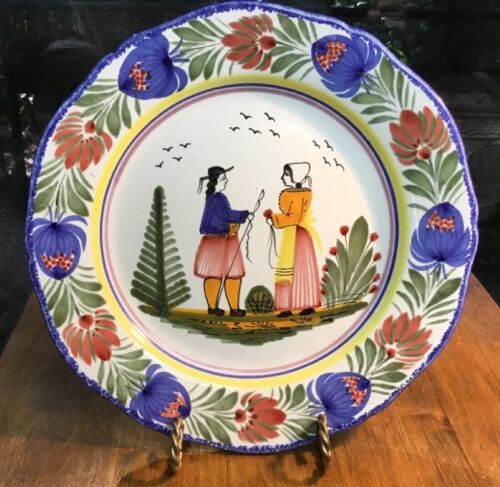Antique Quimper Wall Plate with Traditional Bretagne Wedding Setting c.1900-1910