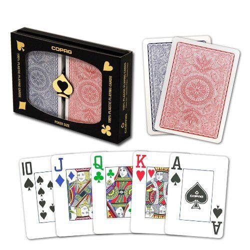 New COPAG 4 Color Plastic Playing Cards Poker Size Jumbo Index FREE CUT CARD