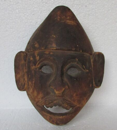 Vintage Old Hand Crafted Wooden Tribal Man Face Mask, Collectible