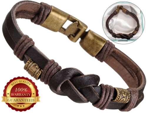 Surfer Faux Leather Bracelet Mens Wristband Bronze Buckle Braided Rope Brown