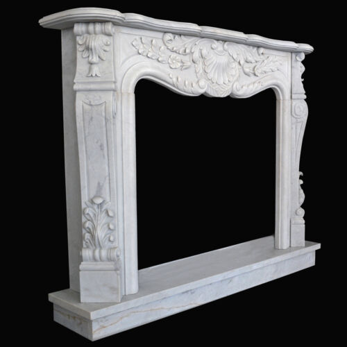 Cornice Caminetto Marmo Bianco Carrara per Camino Liberty White Marble Fireplace