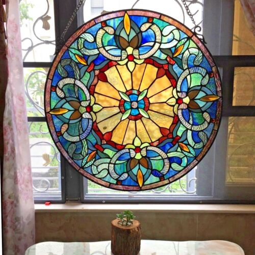 """22"""" Round Victorian Frances Tiffany Style Handcrafted Stained Glass Window Panel"""