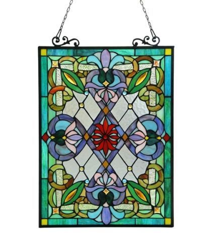 """Tiffany Style Victorian Design Stained Glass Window Panel 18"""" W x 26"""" T"""