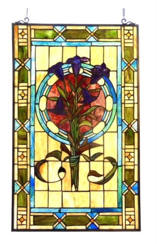 "Tulip Design Tiffany Style Stained Cut Glass Window Panel  20"" Wide x 32"" Tall"