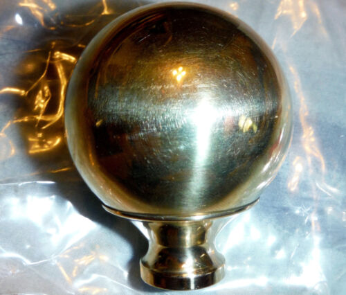 "1 Brass ball 2"" Finial Fits Antique Iron & Brass Beds 3/8"" thread hard to find"