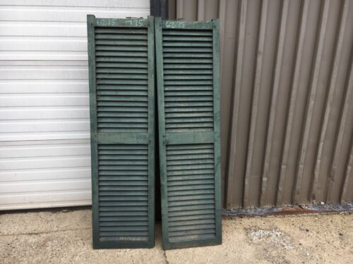 """pair c1840 fixed louver window house shutters HEAVY & thick 62.75"""" x 17.25"""" 1.75"""