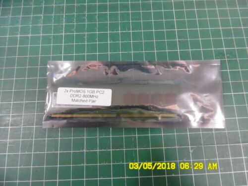 2x 1GB ProMOS PC2 DDR2-800Mhz Matched Pair