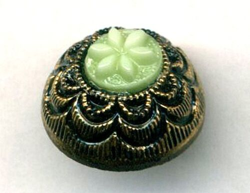 Vintage Black Glass Button with Unusual Green Glass Inset