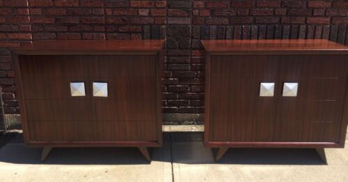 Pair Of MCM Hollywood Regency James Mont Style NEW YORK Bachelor Chests