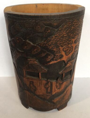 """Antique 10"""" Chinese Hand Carved Wood Bamboo Brush Pot"""