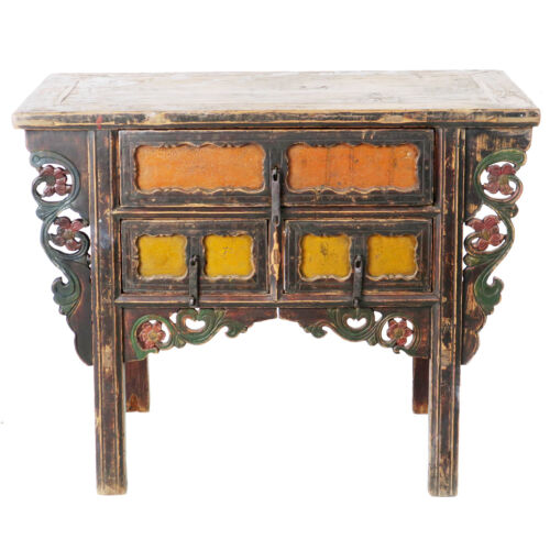 "Antique Chinese Asian 43 "" Wide 3 Drawer Table Coffer Cabinet Vanity"