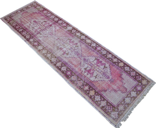 Antique Hand Knotted Wool Turkish Oushak Runner Rug Distressed Rug 2'9'' x 9'