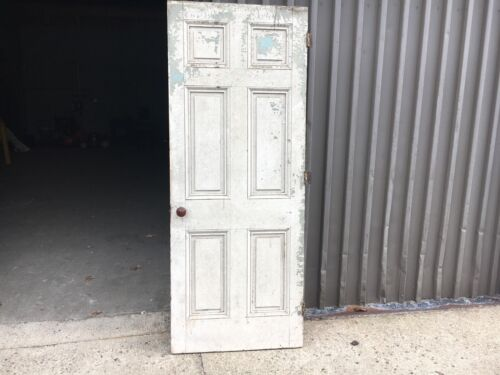 """c1820 raised six panel door old paint mortised & pegged 80"""" h x 31 5/8"""" wide"""