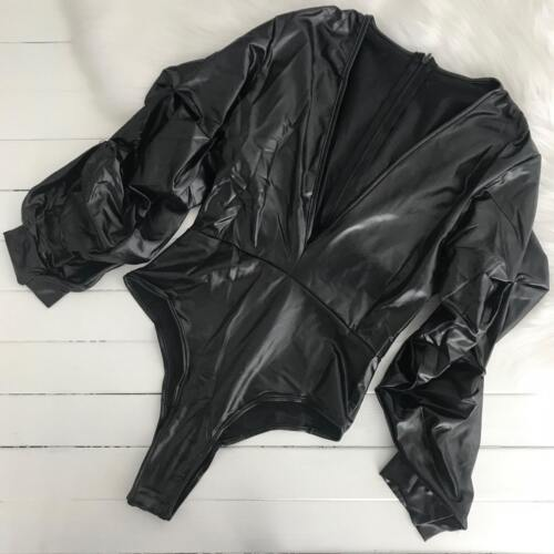 Sexy Plus Size 8-22 Faux Leather Puffy Black Long Sleeve Lingerie Bodysuit