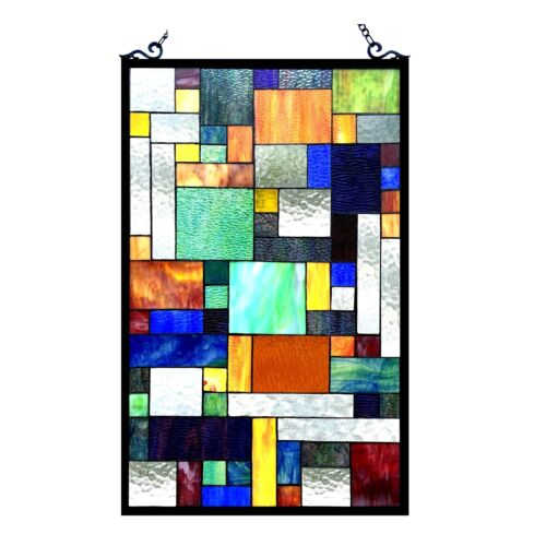 """PAIR Stained Glass Tiffany Style Window Panel Modern Arts & Crafts 20"""" x 32"""""""