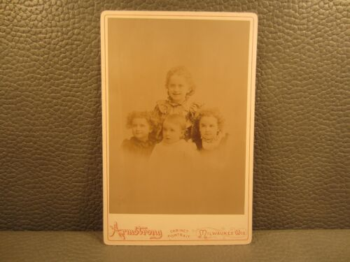 Victorian Antique Photo Cabinet Card of Four Young Girls Sisters Siblings Kids