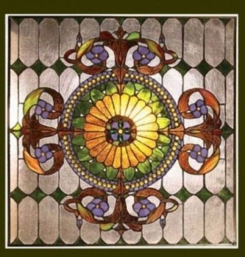 Tiffany Style Matching PAIR Stained Cut Glass Window Panels    Great Colors!