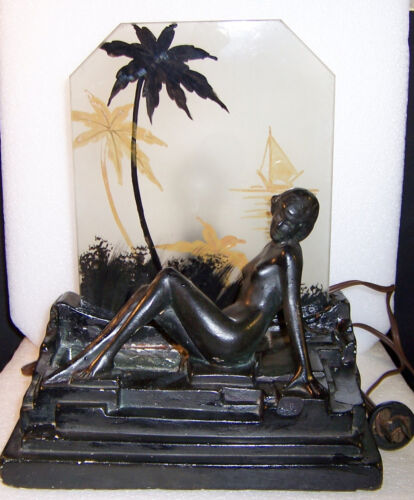 Art Deco Nude Woman Figural Lamp – Plaster / Chalkware - Reverse Painted Glass