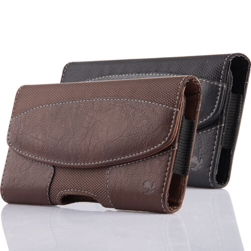 Cell Phone Pouch Case Holster Horizontal Flip Leather Holder with Belt Clip&Loop