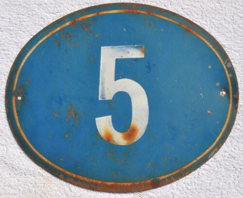 1930s USSR Soviet Russia House Building Door Number Sign # 5 Painted