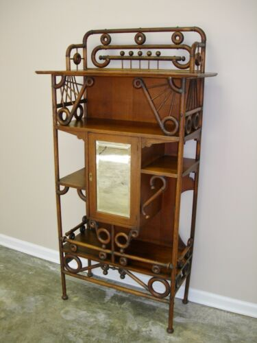 ANTIQUE SOLID OAK ETAGERE STAND VICTORIAN CIRCA 1880-90 FANCY OAK ETAGERE STAND