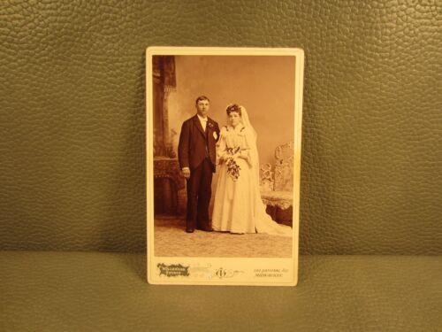 Victorian Antique Cabinet Card Photo of Couple Man and Woman ......FREE SHIPPING