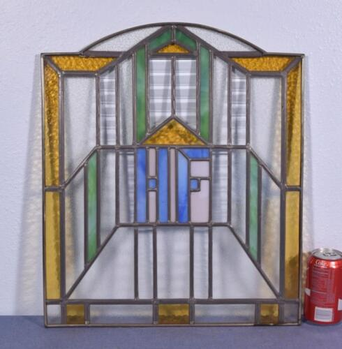 *Antique French Stained Glass Panel with HF Monogram/Initials