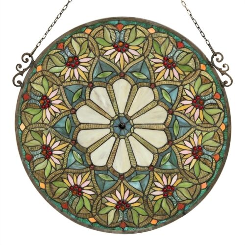 """Floral 23"""" Round Window Panel Tiffany Style Stained Glass ~LAST ONE THIS PRICE~"""