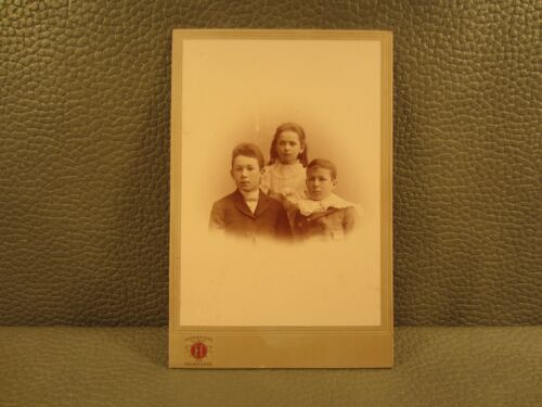 Victorian Antique Cabinet Card Photo of Young Children, Siblings, Boys and Girls