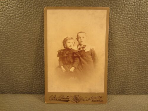 Victorian Antique Cabinet Card Photo of Young Children, Siblings, Boy and Girl