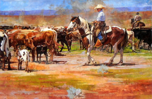 Canvas Print Oil Painting Cowboys at the ranch on canvas 12x18 Inches L177