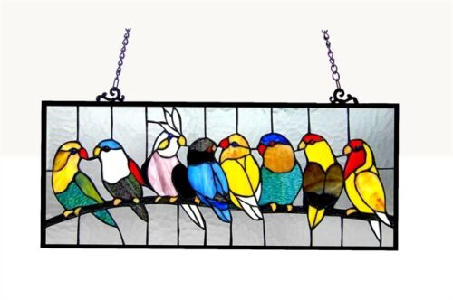 Singing Birds on Wire Tiffany Style Stained Glass Window Panels Matching PAIR