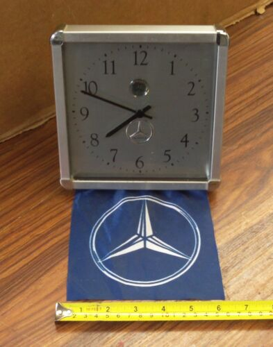 Mercedes Benz (Desk Or Wall) Square Clock With Advertising Flag